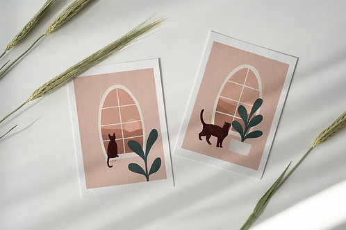 Cat window and plant pair A5 poster print Lugi Design