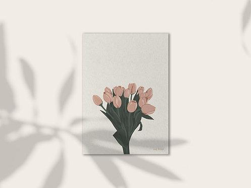 Tulips illustration art print mockup by lugi design