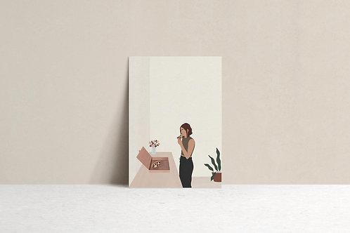 i want pizza illustration art print minimal mockup by lugi design