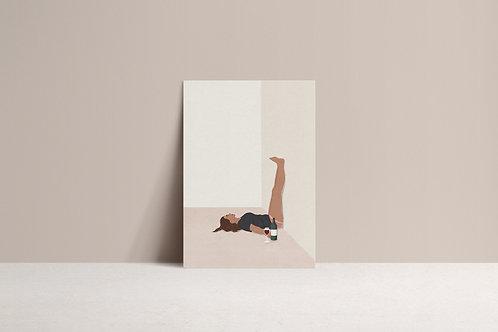 Wine down minimal illustration art print mock up by lugi design studio