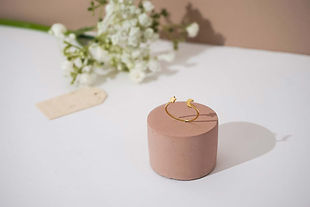Gold star and moon ring with floral pink