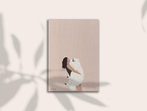 fluffy love samoyed dog illustration art print lugi design
