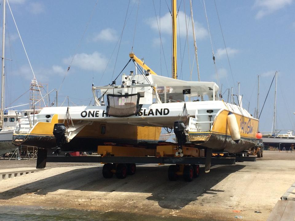 Aruba boatyard - big catamaran