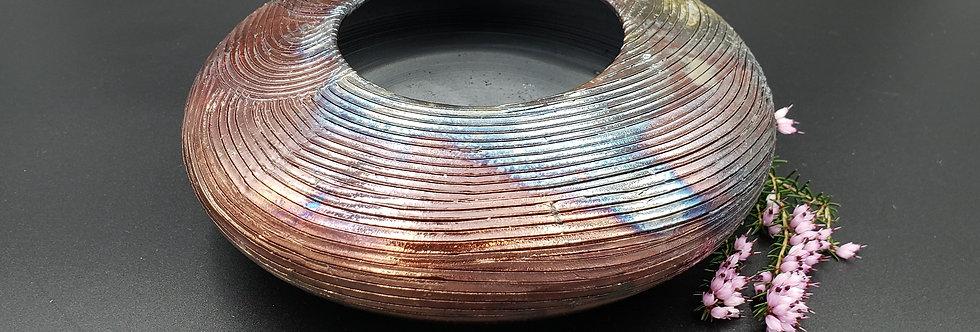 Flat Rounded TZ Raku Vase w/line texture