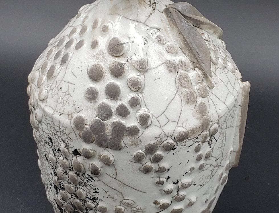 White Raku Glaze Pomegranate Vase