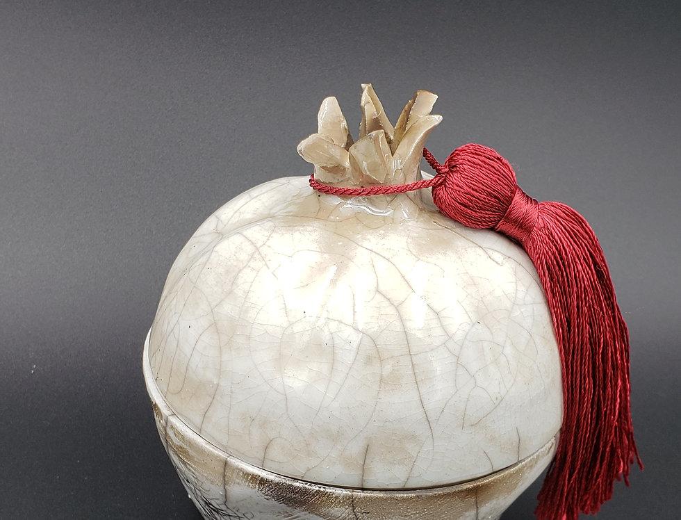 White Raku Glaze Pomegranate box