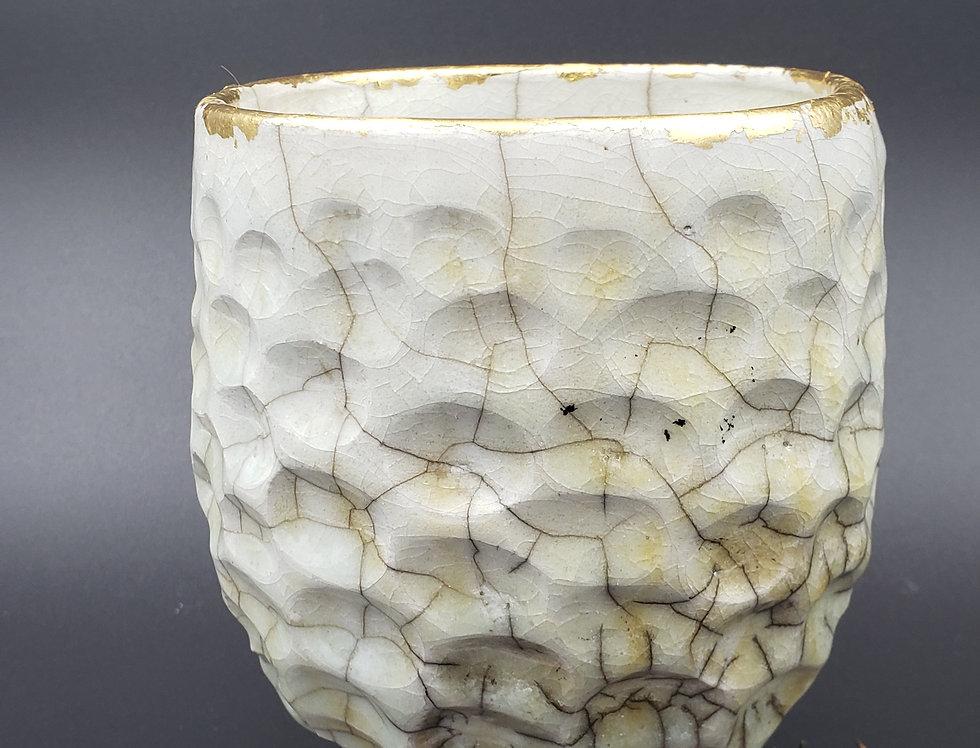 White Raku Glaze w/gold leaf vase