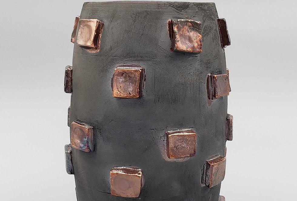 Raku Black w/TZ sq Vase