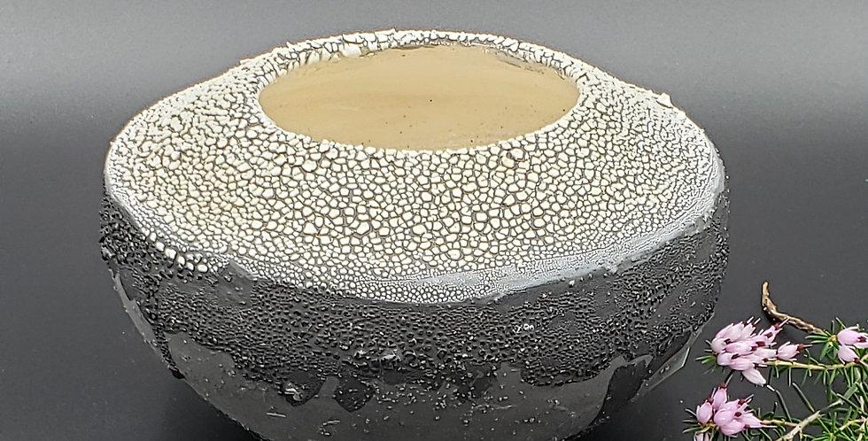 Black w/ white crackle vase