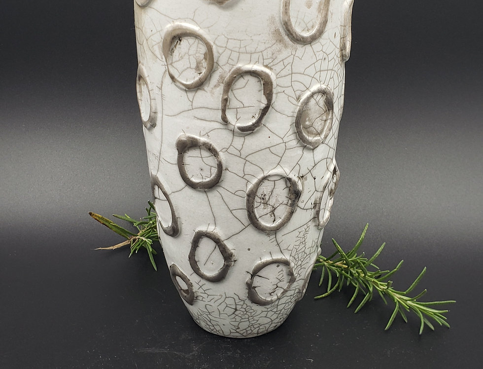 Raku White Crackle Vase