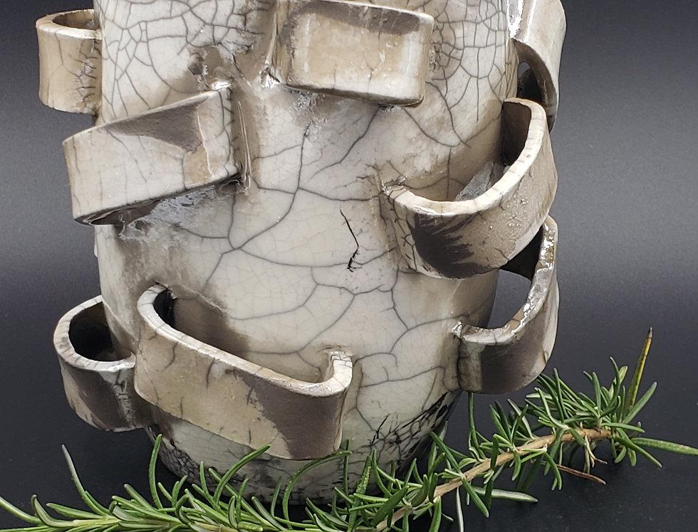 Ribbons Vase Raku White Crackle