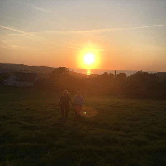 The famous Perranporth Sunset over the sea from the front field