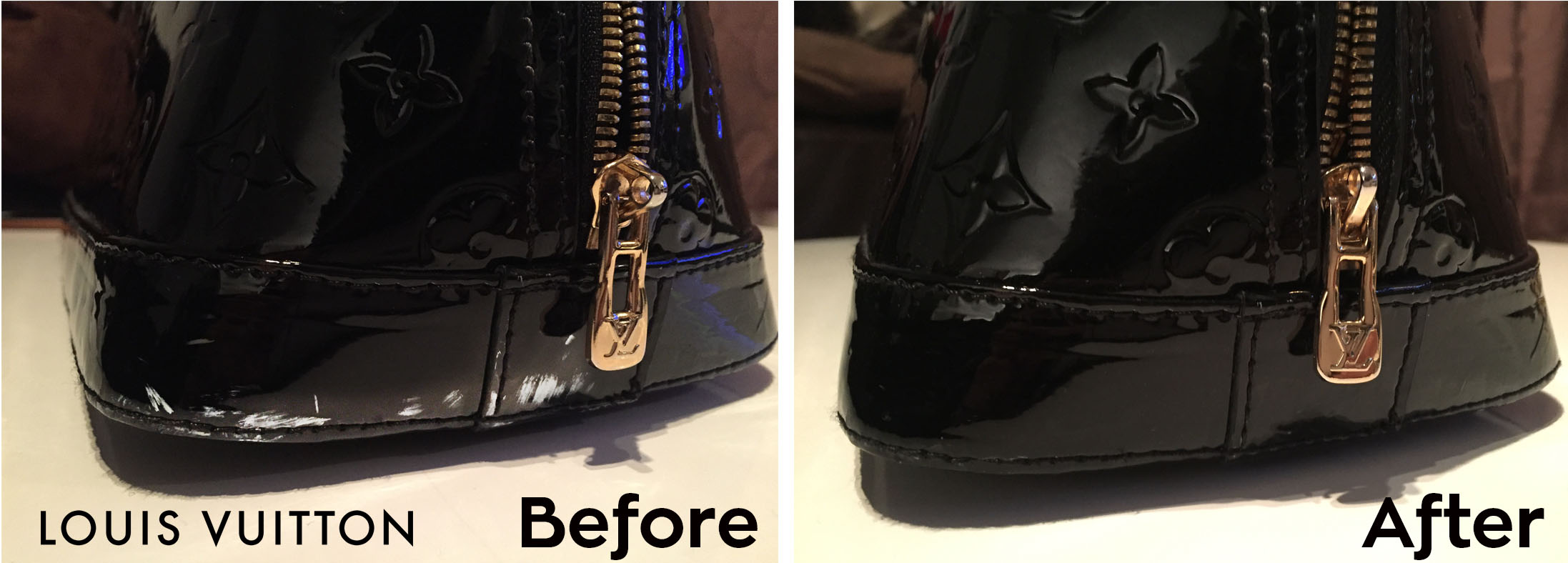 louis vuitton patent handbag repair