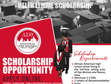 Des Moines Alumnae Chapter of Delta Sigma Theta Sorority, Inc Helen Lemme Scholarship