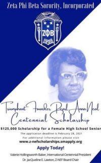 Zeta Phi Beta Sorority, Incorporated Triumphant Founder Peral Anna Neal Centennial Scholarship