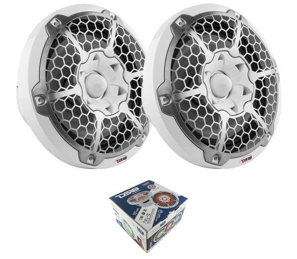 "Pair of White NXL-10 10"" 2-Way 1800W Marine Speakers RGB LED"