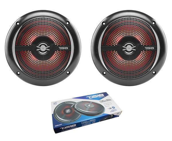 "Pair of Black DS18 HYDRO 6.5"" 200W 4 Ohm 2 Way Slim Marine Speakers NXL-6SL"