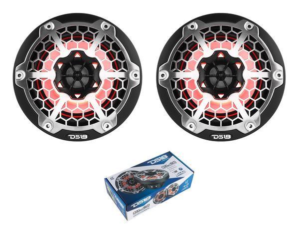 "Pair of DS18 HYDRO Black 6.5"" 600W 4 Ohm 2-Way Marine Speakers RGB NXL-6M"