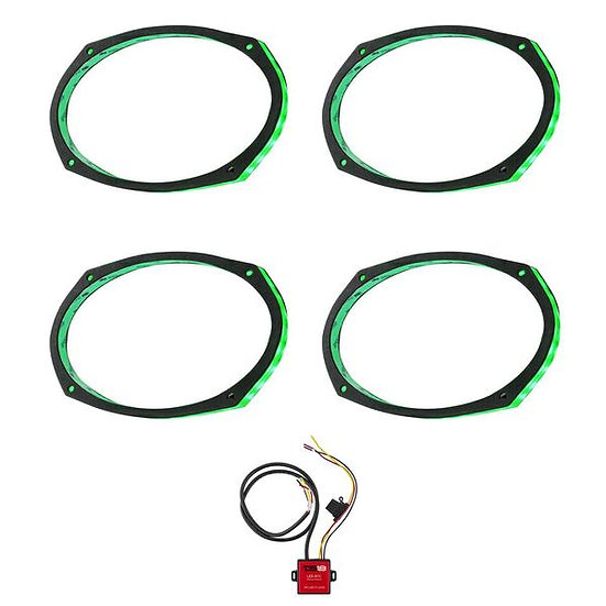 """Pair of DS18 6x9"""" LED RGB Acrylic Ring for Speakers + LED Bluetooth Controller"""