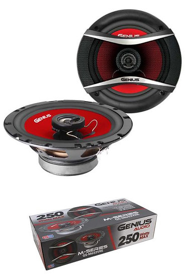 """Pair of 6.5"""" 2 Way 4 Ohm 250W Red Coax Speakers Neo Genius Audio GS-M652VRE"""