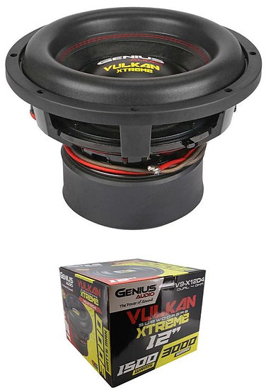 "12"" Super Woofer 3000 Watt Dual 4 Ohm Pro Bass Genius Audio V9-X12D4"