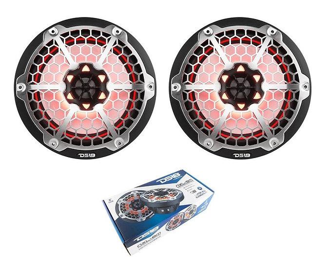 "Pair of DS18 HYDRO Black 8"" 750W 4 Ohm 2-Way Marine Speakers RGB NXL-8M-BK"