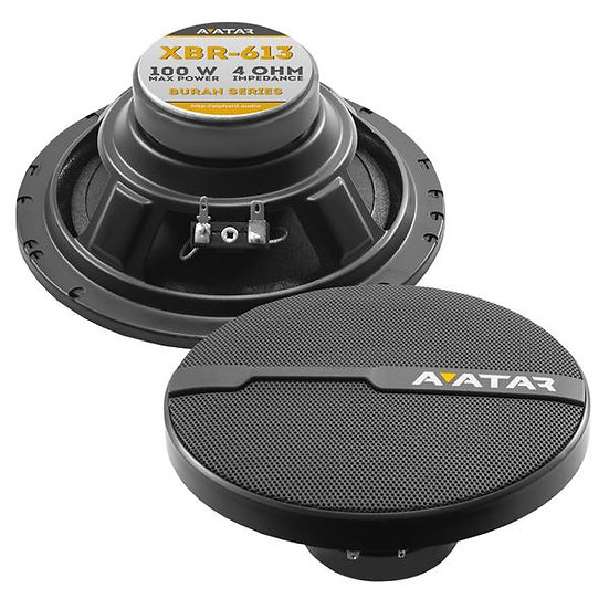 "Avatar Buran XBR-613 6.5"" 100 Watts 4-Ohm Black Component Coaxial Speakers"