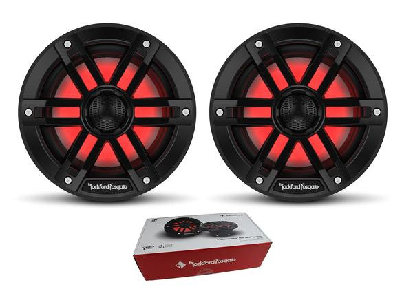 "Pair of Rockford Fosgate 6"" Black 600W 4 Ohm Color Optix Marine 2 Way M1-6B"
