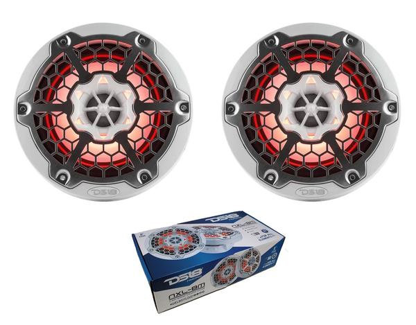 "Pair of DS18 HYDRO White 8"" 750W 4 Ohm 2-Way Marine Speakers RGB NXL-8M-WH"