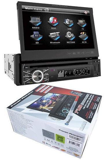 """7"""" Flip Out Bluetooth Radio CD/DVD MP3 USB Single Din Touch Screen PTID-8920B"""