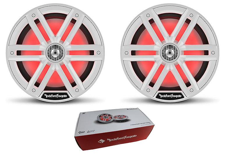 "Pair of Rockford Fosgate 8"" White 2000W 4 Ohm Color Optix Marine 2-Way System M2"