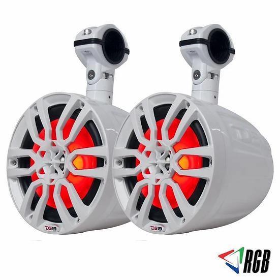 "2x DS18 HYDRO NXL-8UTVW 8"" Slim Wakeboard Pod Tower Speaker 375W RGB LED Light"