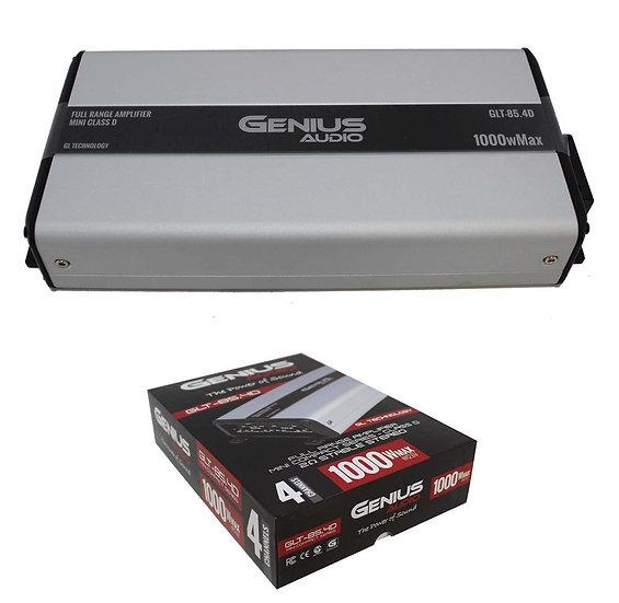 Full Range 4 Ch Class D 2 Ohm Stereo Compact Mini Amp 1000W Genius Audio GLT-85.