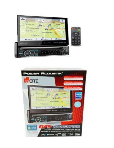 "Power Acoustik Single DIN CD/DVD Player 7"" Flipout GPS Navigation Bluetooth"