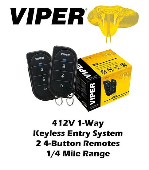 Viper 1-Way Keyless Entry System 211HV 1/4 Mile Range 3 Channel 2 Remotes 412V