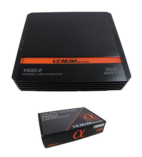 1000W Alphasonik 2-Channel Class A/B Amplifier Pro Car Audio V500.2