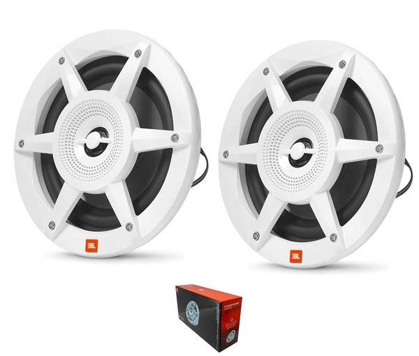 "Pair of JBL 300 Watt 3 Ohm 6.5"" Marine & Powersports Coaxial Speakers w/ RGB LED"