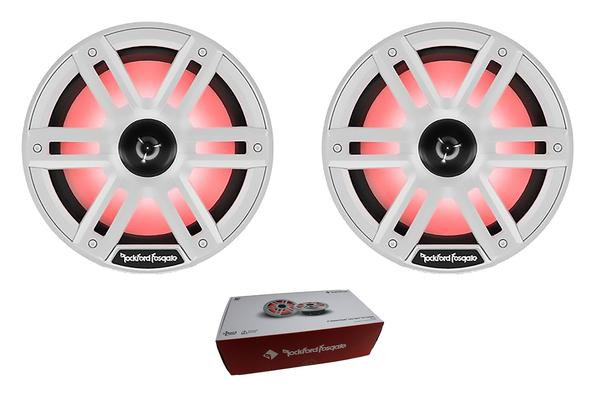 """Pair of Rockford 8"""" White 2400W 4 Ohm Color Optix Marine 2 Way Horn M2-8H"""