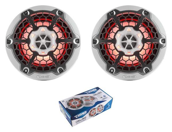 "Pair of DS18 HYDRO White 6.5"" 600W 4 Ohm 2-Way Marine Speakers RGB NXL-6M"