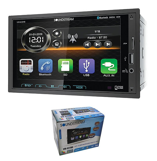 SoundStream 6.2 Inch 2-Din Multimedia Source Unit DVD USB AUX Bluetooth VM-622HB