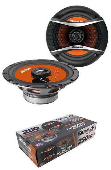 """Pair of 6.5"""" 2 Way Coax Speakers 4 Ohm 250W Orange Neo Genius Audio GS-M652VOR"""