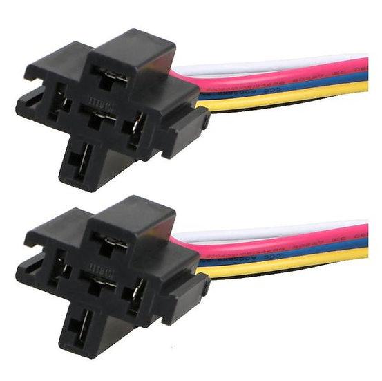 2 Pack 12V 30/40 Amp 5-Pin SPDT Automotive Relay Harness Socket Set