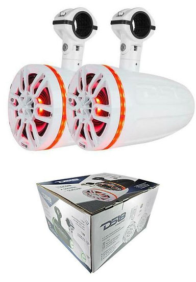 "DS18 NXL6TPW 6.5"" Marine Pod Tower Speakers 1"" Compression Driver RGB 450W White"