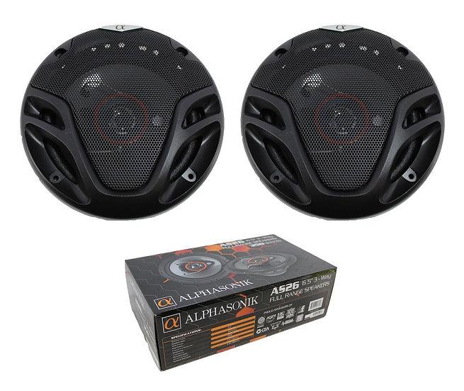 "Pair of Alphasonik 6.5"" 3-Way 700W Full Range Speakers 4 Ohm AS26"