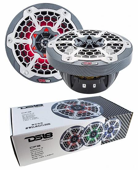 "DS18 Hydro CF8 Pair of Black Marine 8"" 2-Way Speakers Boat ATV RGB LED Lights"