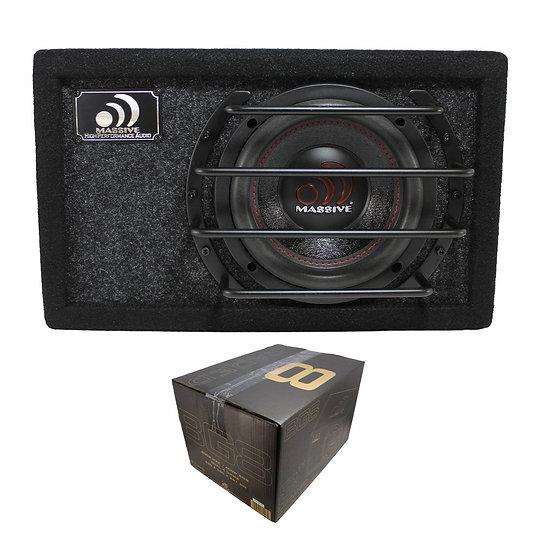 "Massive Audio 8"" 800W Dual 4 Ohm Loaded Subwoofer Enclosure BG-8"