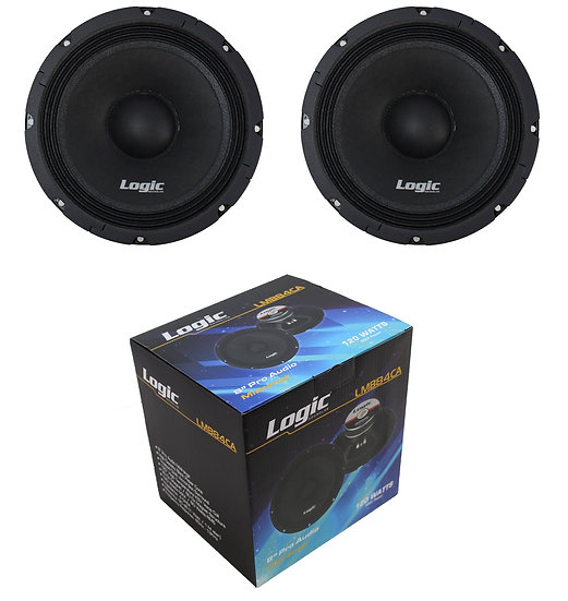"""Pair of Logic 8"""" Midrange 240 Watt Pro Car Audio Speakers LMB84CA"""