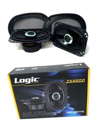 "4"" x 6"" 220 W 2 way Coaxial Speakers Adjustable tweeters Logic Sound lab ZX4600"