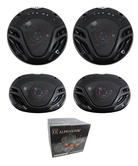 "Alphasonik 1 Pair of 6.5"" 700W 1 Pair of 6x9"" 1000W 3- Way Full Range Speakers"
