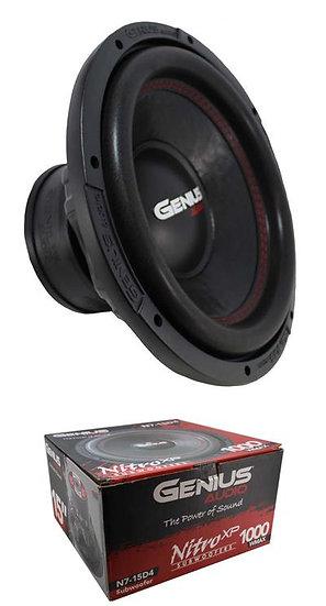 "15"" Subwoofer Dual 4 Ohm Voice Coil 1000 Watts Genius Audio N7-15D4"